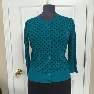 Spense Knits Turq/Black Polka dot Cardigan